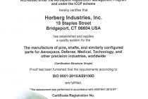 Horberg AS9100D Certification